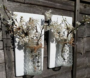 PAIR OF RECYCLED RUSTIC WOOD WALL MOUNTED FLOWER GLASS JAR SCONCE CANDLE HOLDER