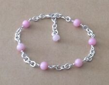 Silver Plated Chain Bracelet Pink Agate Beaded Station