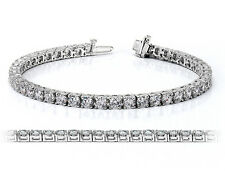 3.70 CT H/VS2 ROUND CUT NATURAL REAL DIAMOND TENNIS BRACELET 14K WHITE GOLD
