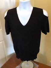 Joseph A. Women v-neck Neck Sweater Knit Black Size L shoulder cut outs