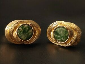 Vintage SWANK Gold-Toned With Green Glass Men's Cufflinks