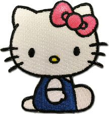 Hello Kitty 03 sitting pose in blue uniform sew on iron on patch new