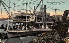 F33/ Monroe City Missouri Postcard c1910 Excursion Steamer Alton River