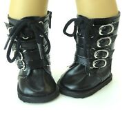 """High Black Strappy Buckle Boots fits American Girl Dolls & 18"""" Dolls"""