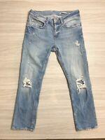 Zara Women's Blue Ripped Boyfriend Jeans Size 10 Faded Light Wash Pockets