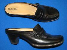6.5 M Bjorndal Black Leather Mules Ladies Woemsn Gena Heels Clogs Slipons Stocky