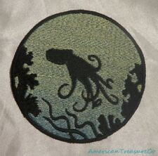 Embroidered Octopus Ocean Sea Silhouette Ombre Circle Patch Iron On Sew On USA