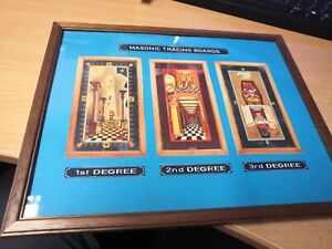 Masonic Tracing Board prints All 3 degrees on blue in wood frame frame 32 x 26cm