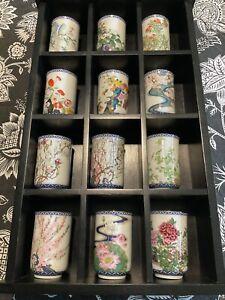 Franklin Mint (FM) collection of 12 tea cups, Japanese 1981 vintage bone china
