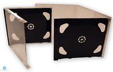 100 DOPPIO CD JEWEL CASE 10.4 mm standard per 1 CD Con Nero Pieghevole Vassoio HQ