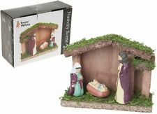 Small Nativity Christmas Display Set/Scene With Stable & 3 Porcelain Figures