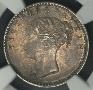 1840.(M) NGC AU53 BRITISH INDIA 1/4 RUPEE RARE KEY DATE EAST INDIA CO