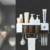 Toothpaste Dispenser UV Toothbrush Sterilizer Holder Wall Mount Stand Bathroom