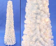 Künstliche Weihnachtsbaum Säule Kasan weiß 210cm mit LED Lämpchen, 496 Zweige B1