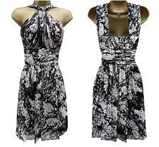 Karen Millen Silk Floral Print Halterneck Dress Size UK 8 Corset DQ054