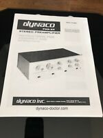 Dynaco Pas-3X Stereo Preamplifier Owners Operating Schematic Assembly Manual