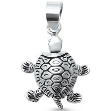 Plain Solid 3D Moving Turtle Charm .925 Sterling Silver Pendant