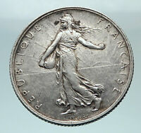 1919 FRANCE Antique Silver 2 Francs French Coin w La Semeuse Sower Woman i81221