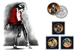 Michael Jackson - 3 Colorized JFK Kennedy  Half Dollars Coin Set
