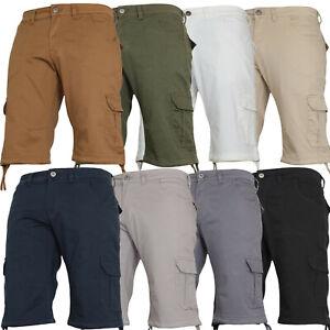 Von Denim Mens Stretch Cargo Combat Summer Chino Casual Work Knee Length Shorts