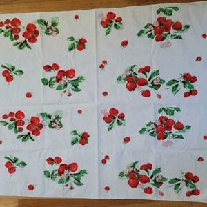 VINTAGE STRAWBERRY STRAWBERRIES TABLECLOTH
