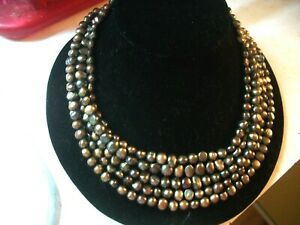 DTR DESERT ROSE TRADING 5 STRAND BAROQUE TAHITIAN PEARL STERLING NECKLACE 203 GM
