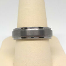 TRITON / FG MEN'S 6MM COMFORT FIT DOUBLE GROOVE GRAY TUNGSTEN WEDDING BAND RING