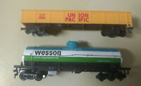 HO scale 2 Car Lot Union Pacific Gondolla UP 65253  Wesson Oil Tanker GATX 9876