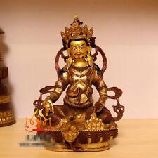 "8"" Asian Antique Tibet copper gilt hand made Yellow Jambhala Zanbala statue"