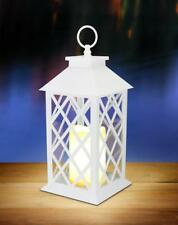 WHITE floral lattice Lantern w/ LED flameless Candle holder Lamp light outdoor