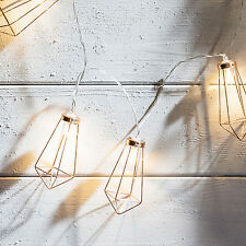 Battery Operated Copper Geometric Pendant LED Indoor Bedroom Fairy String Lights