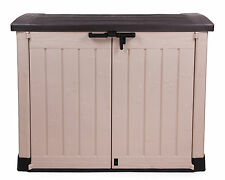 Ondis24 Keter Arc Gerätebox Aufbewahrungsbox Mülltonnenbox Gartenbox Beige-braun