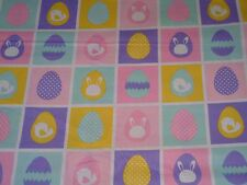 "1 yard Easter Eggs with Bunnies & Chicks in Squares 100% Cotton Fabric- 44"" wide"