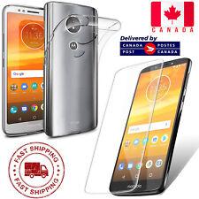 Slim Clear Soft TPU Case Cover & Tempered Glass For Motorola Moto E5 / G6 Play