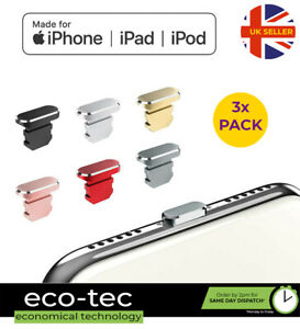 3x Pack Metal Charger Port Anti Dust Cover Plug Caps for iPhone 13 12 11 XS XR 8