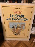 Lithographie Tintin Hergé Crabe aux Pinces d'Or 2000 exemplaires 80 x 60 cm Pixi