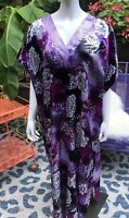 Vintage Winlar Caftan Maxi Dress Mumu Boho Floral Leopard OS Festival