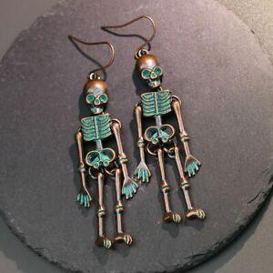 Halloween Vintage Skeleton Skull Dangle Earrings Women Gothic Punk Earrings*