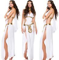White Greek Goddess Costume Long Dress Halloween Fancy Party 3PCS Gown