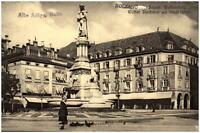 BOZEN Bolzano Südtirol ~1910/20 Walterplatz Stadt-Hotel Denkmal Frau mit Tauben