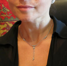 14k 585 White gold beaded design chain necklace 16.0'' + 2.0'' hanging strands
