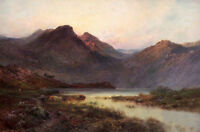Art huge nice Oil painting mountains lake cows in sunset landscape canvas