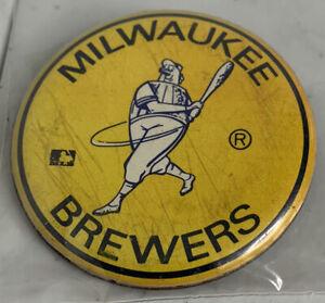 "Vintage Milwaukee Brewers Yellow ""Keg Man"" Pin P/O MLB Throwback Bernie Brewer J"