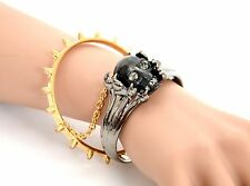 ALEXANDER McQUEEN SKULL CLAWS DOUBLE CHAINED BRACELET CUFF AND BANGLE BNWT