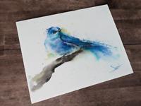 Mountain Bluebird Painting, Watercolor Bluebird Print, Bluebird Decor, Blue Bird