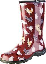Sloggers Women's Rain Yard Garden Boots Chicken Print Collection Sz 8 Barn Red