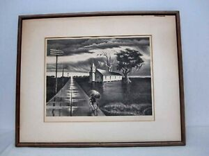 "SIGNED GEORGES SCHREIBER LIMITED EDITION ""RAIN"" LITHOGRAPH"