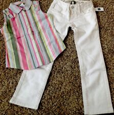 Nwt Gymboree 2pc Outfit Spring Striped Top/Gap White Distressed Adj Jeans $55 6