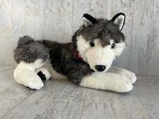 Fao Schwarz Gray Siberian Alaskan Husky Plush Dog Puppy Red Collar 19� Wolf Rare