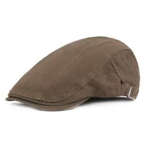 Men's Flat Hats Solid Driving Golf Hat Casual Travel Adjustable Newsboy Caps